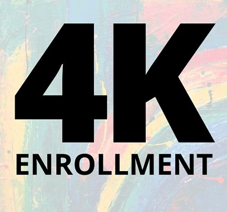words 4K enrollment over colorful painting