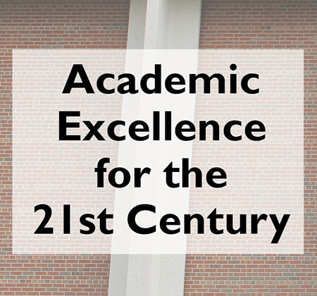 Words Academic Excellence for the 21st Century in front of a PHS pillar