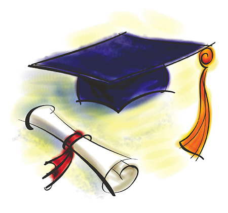 Drawing of grad cap and diploma