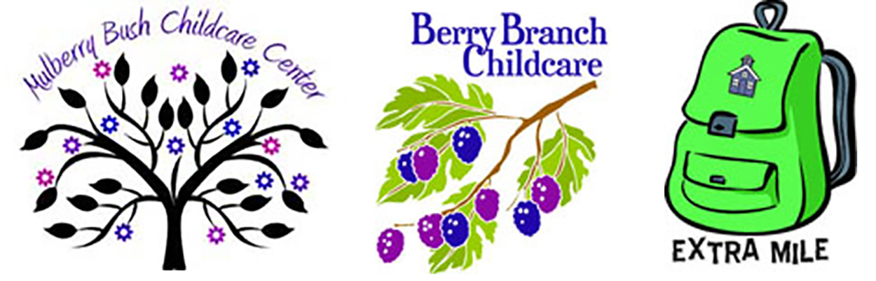 Mulberry Bush, Berry Branch, Extra Mile logos