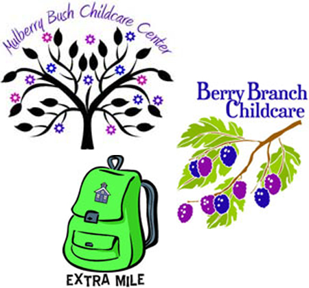 Mulberry Bush, Berry Branch and Extra Mile logos