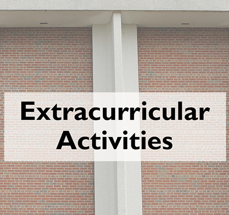 Word Extracurricular in front of PHS pillar