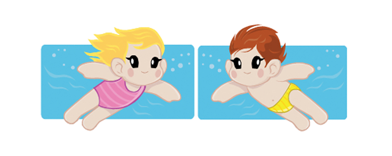 Drawing of children swimming
