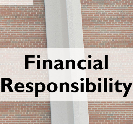Words Financial Responsibility in front of PHS pillar