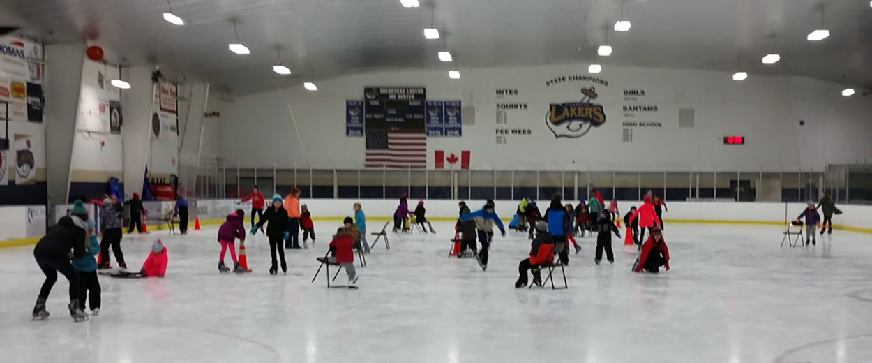kids skating around rink