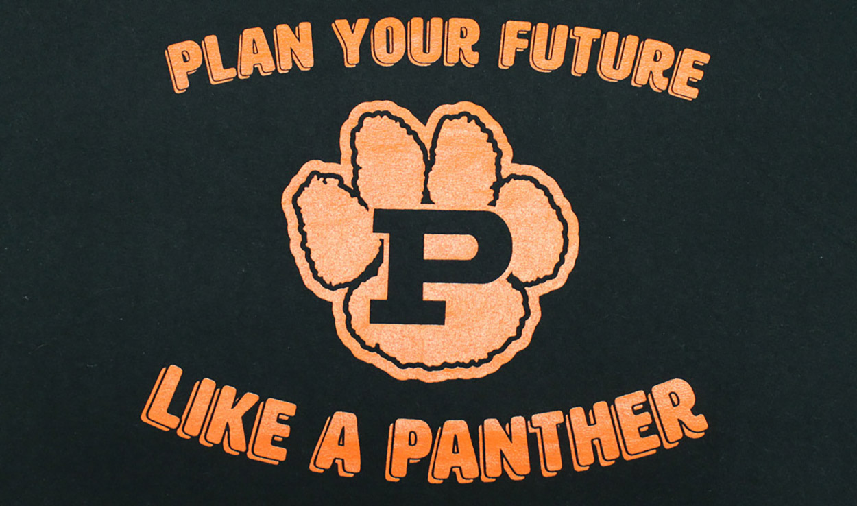 Front of Plan Your Future T-shirt with pawprint
