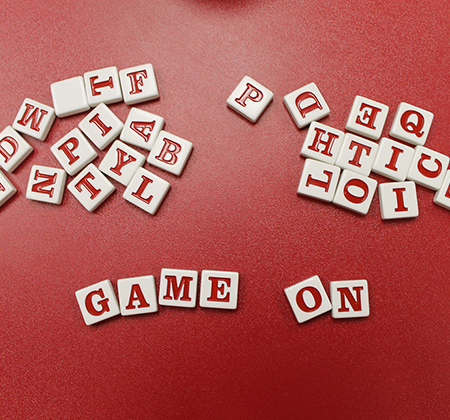 letter tiles spelling out game on