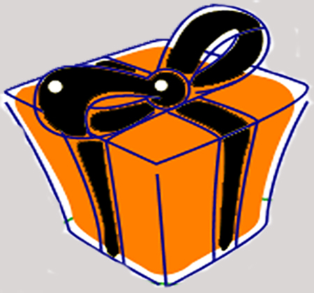 Drawing of a present in orange wrap with a black bow