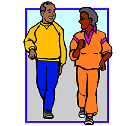 drawing of two people walking