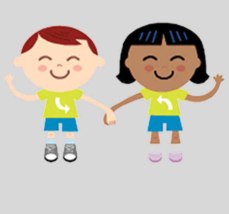 Drawing of children holding hands