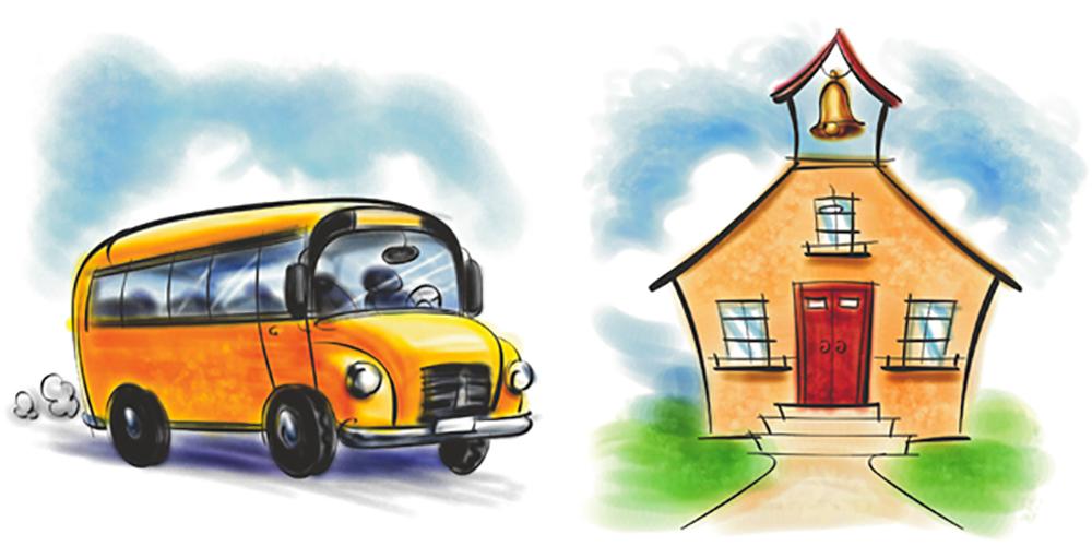 school bus and school house