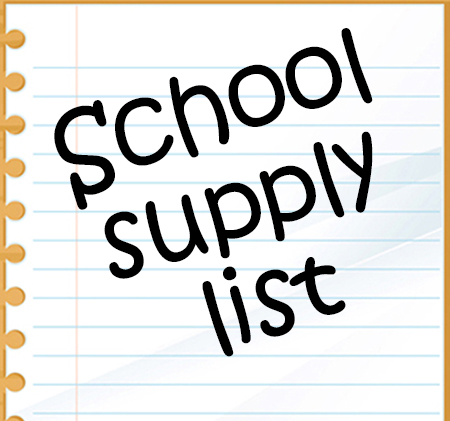 Words School Supply List on notebook paper