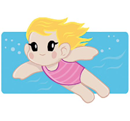 drawing of girl swimming