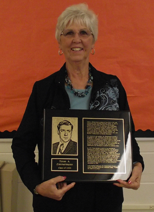 Mrs. Zimmermann with plaque