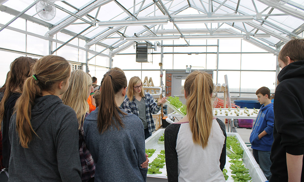 Students talking in Food Science and Agriculture Center